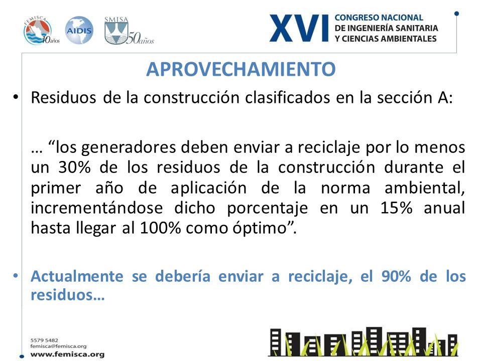 APROVECHAMIENTO Residuos de la construcción clasificados en la sección A: