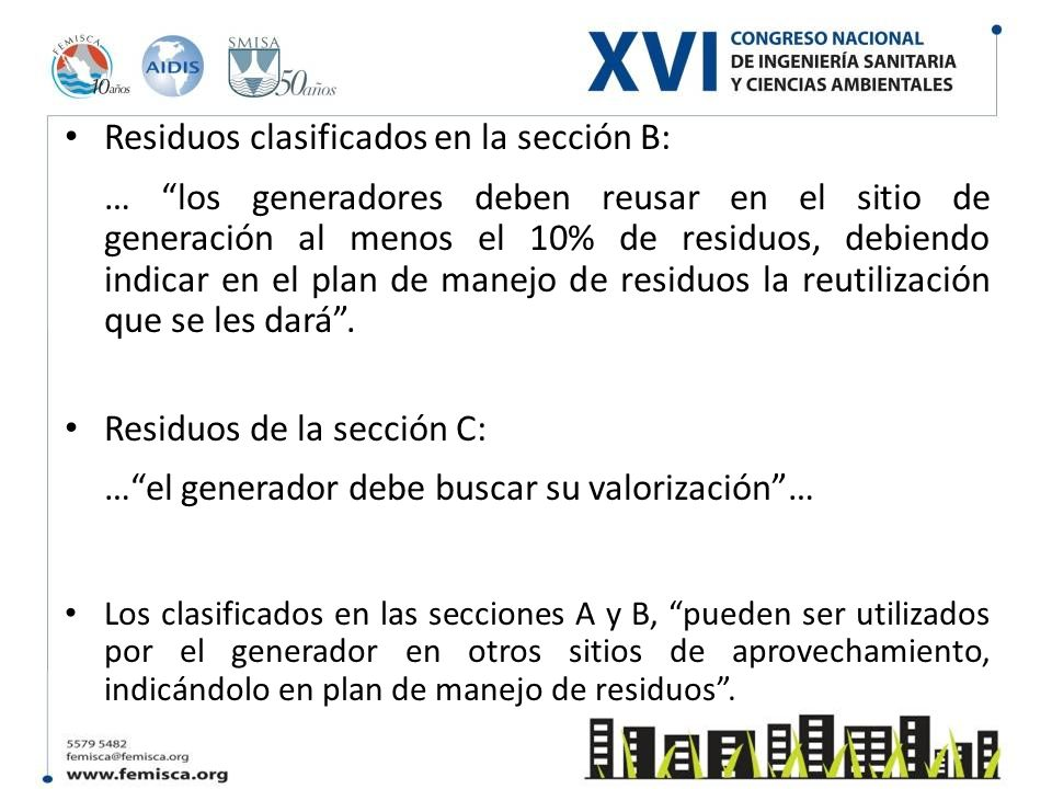 Residuos clasificados en la sección B: