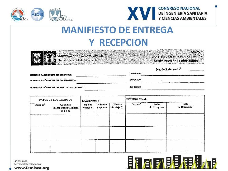 MANIFIESTO DE ENTREGA Y RECEPCION