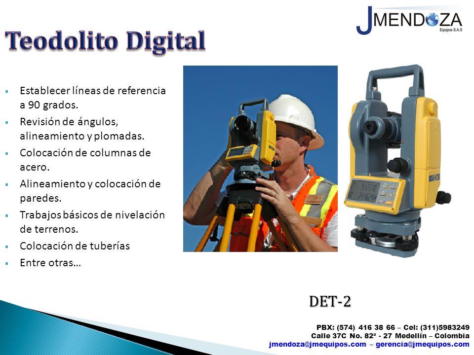 Teodolito Digital DET-2 Establecer líneas de referencia a 90 grados.