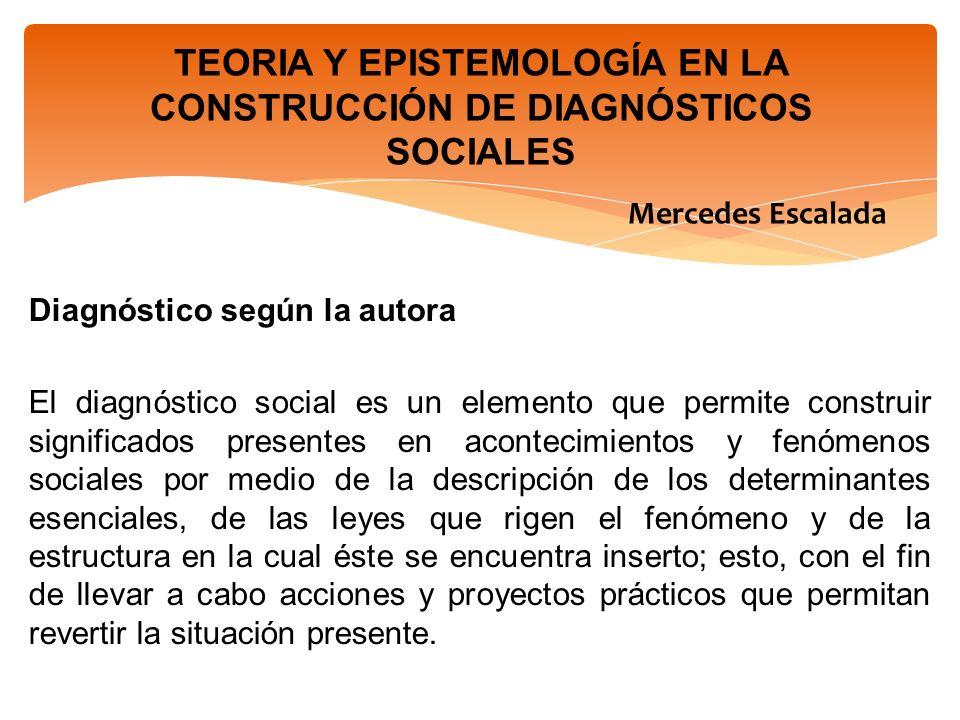 TEORIA Y EPISTEMOLOGÍA EN LA CONSTRUCCIÓN DE DIAGNÓSTICOS SOCIALES Mercedes Escalada