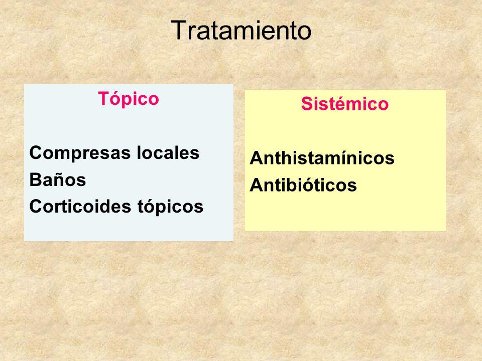 Tratamiento Tópico Sistémico Compresas locales Anthistamínicos Baños