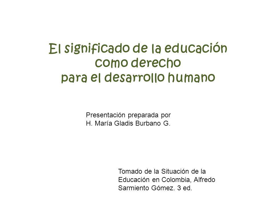 El significado de la educación como derecho para el desarrollo humano