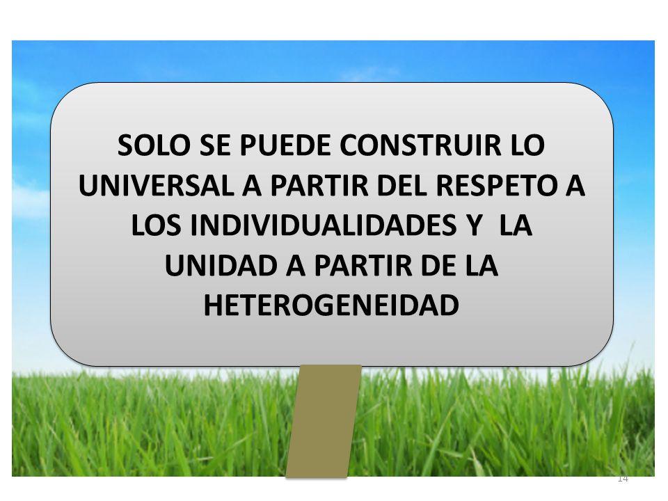 SOLO SE PUEDE CONSTRUIR LO UNIVERSAL A PARTIR DEL RESPETO A LOS INDIVIDUALIDADES Y LA UNIDAD A PARTIR DE LA HETEROGENEIDAD