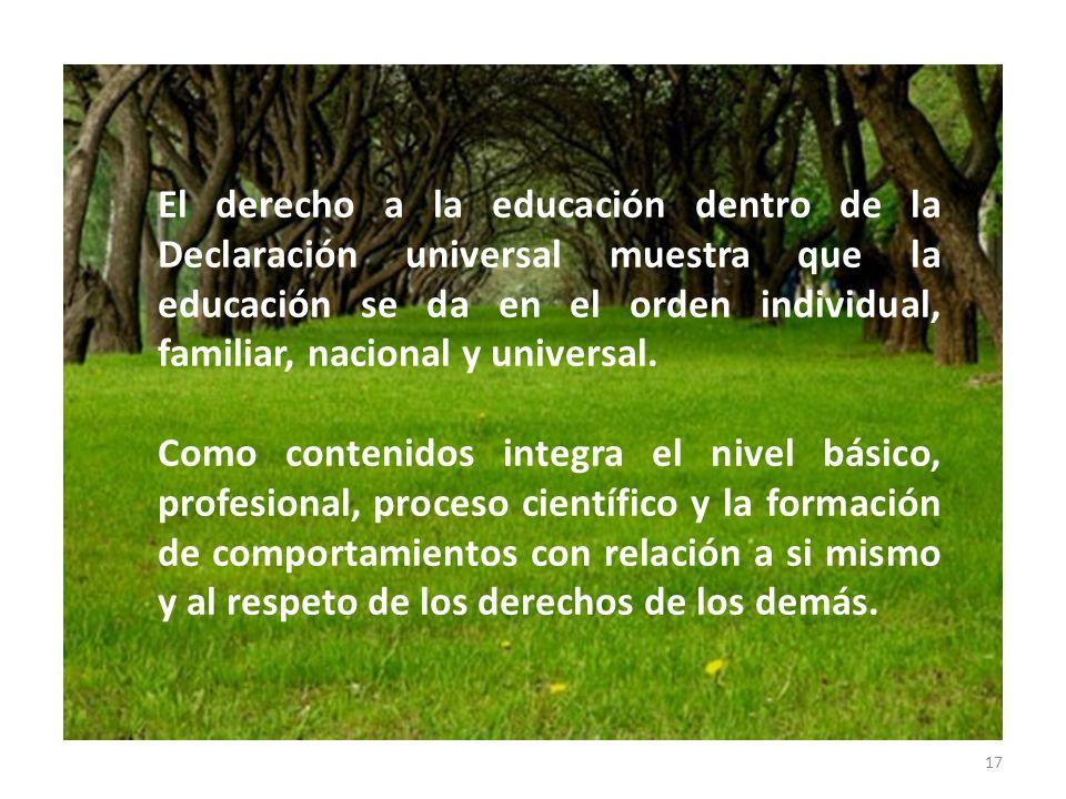 El derecho a la educación dentro de la Declaración universal muestra que la educación se da en el orden individual, familiar, nacional y universal.