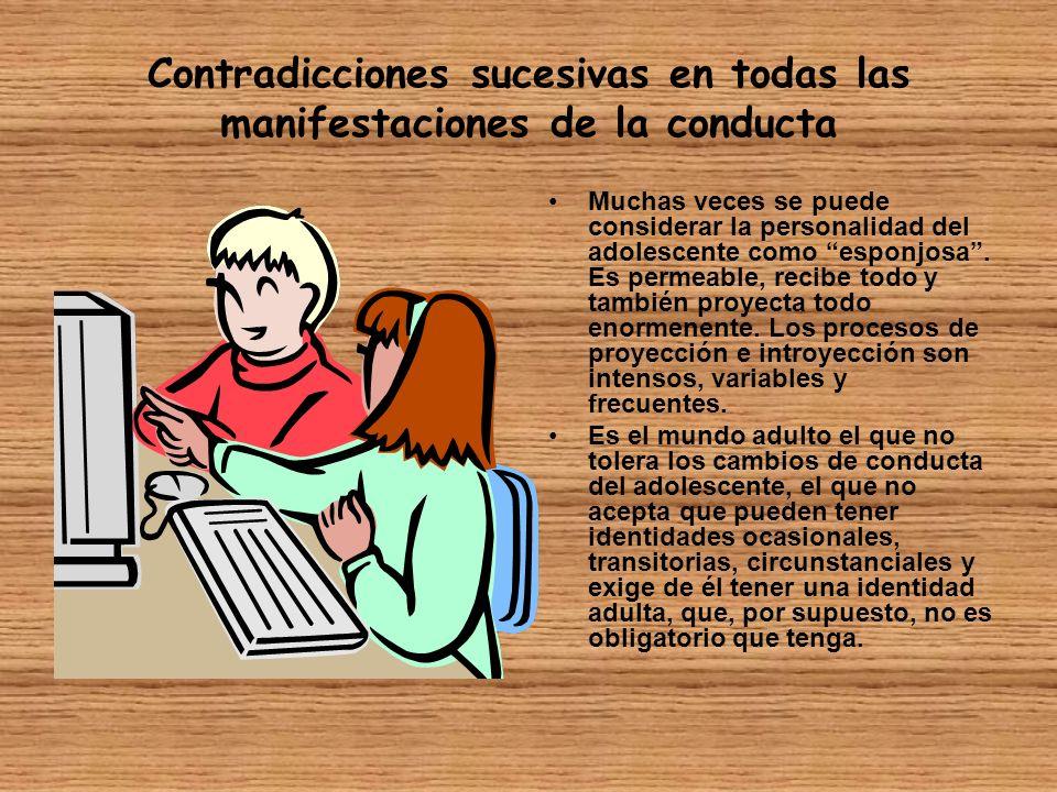 Contradicciones sucesivas en todas las manifestaciones de la conducta