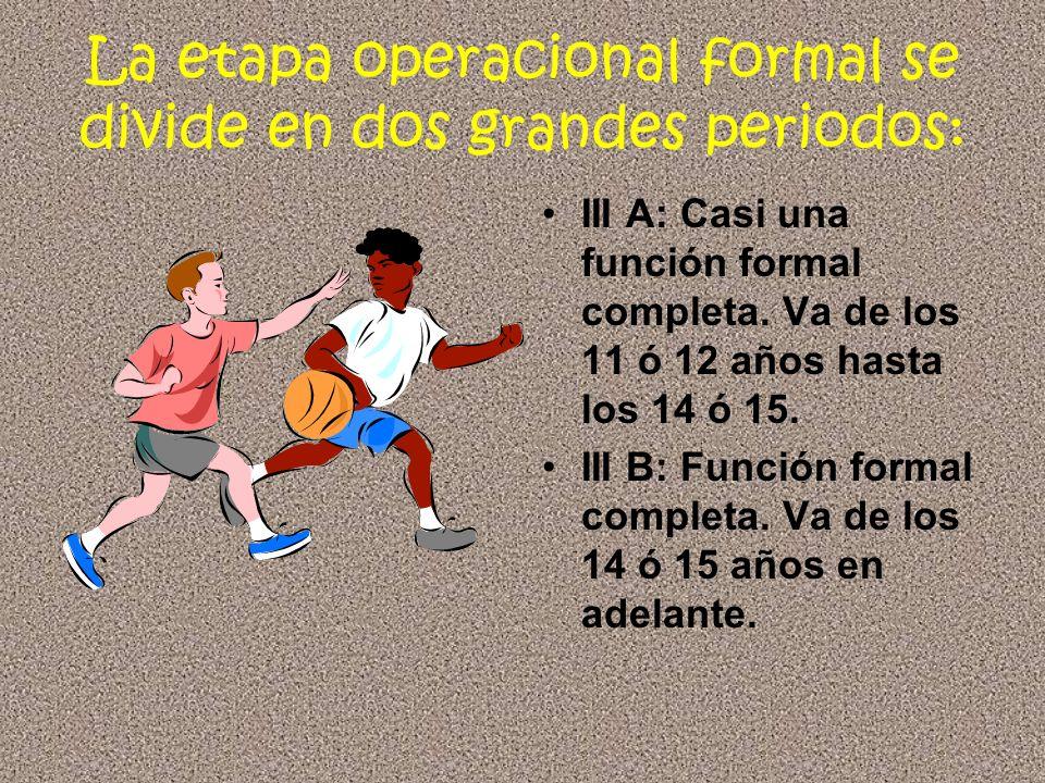 La etapa operacional formal se divide en dos grandes periodos: