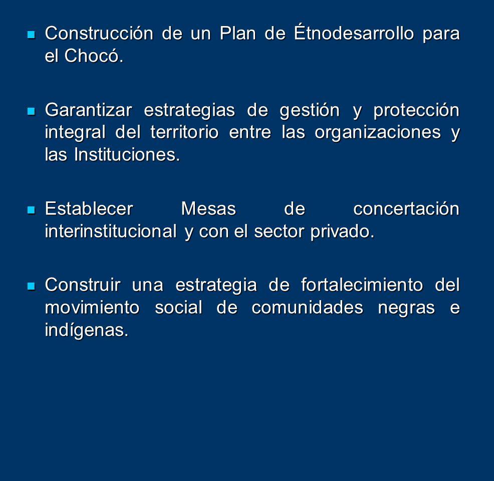 Construcción de un Plan de Étnodesarrollo para el Chocó.