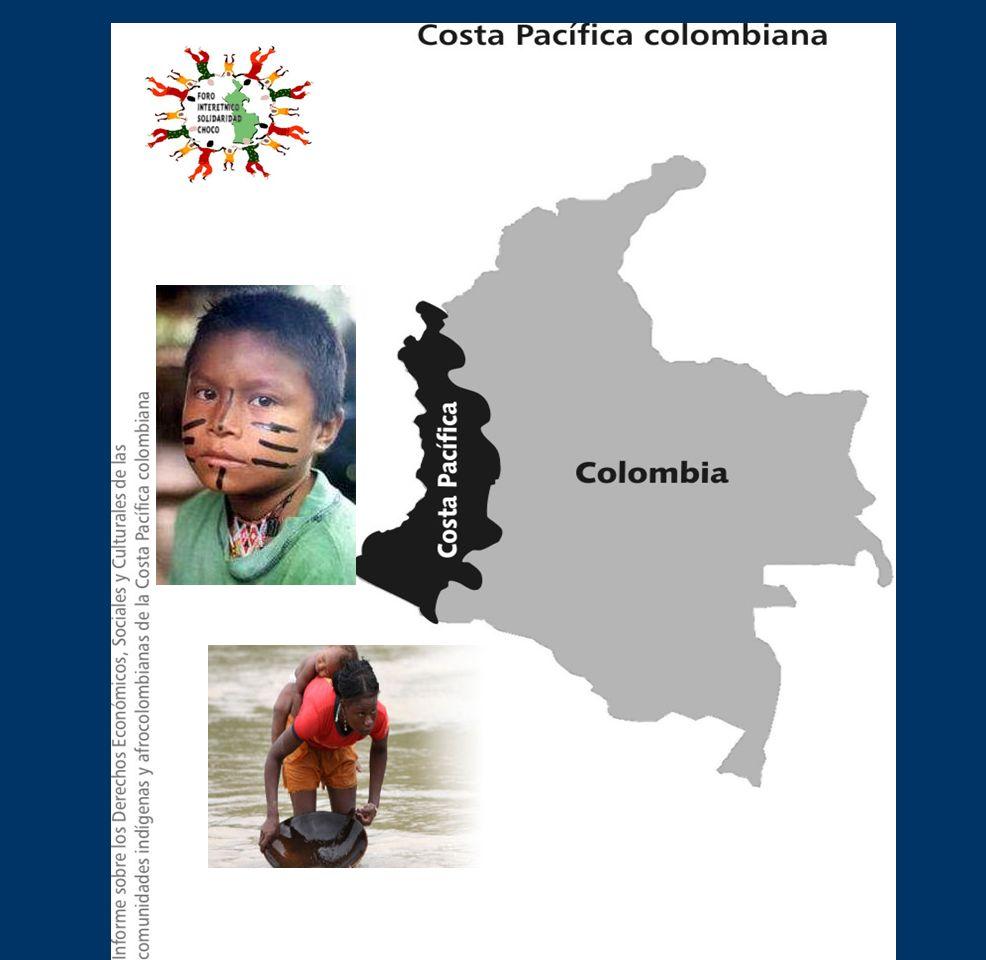 Mapa de Colombia y la costa pacifica