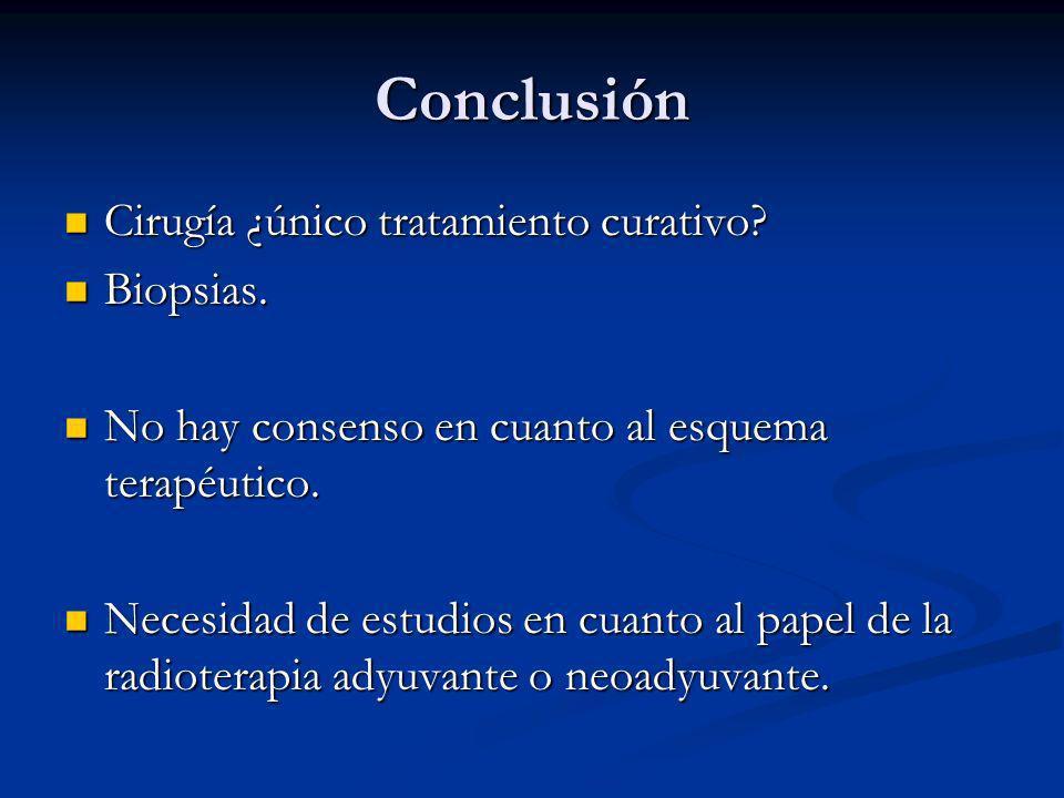 Conclusión Cirugía ¿único tratamiento curativo Biopsias.