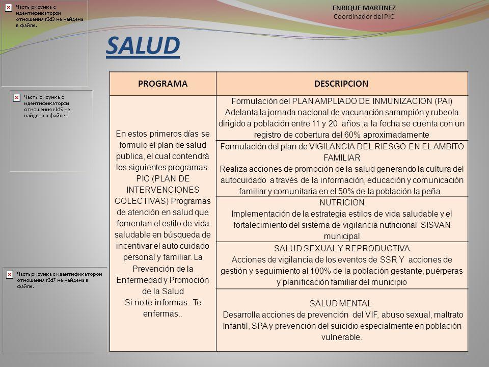SALUD PROGRAMA DESCRIPCION