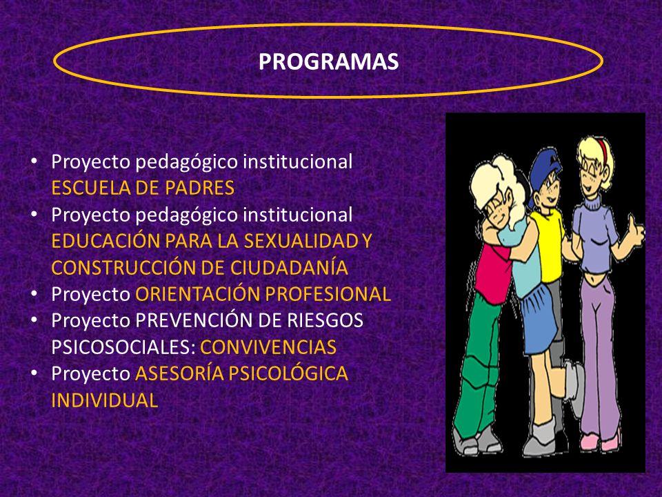 PROGRAMAS Proyecto pedagógico institucional ESCUELA DE PADRES
