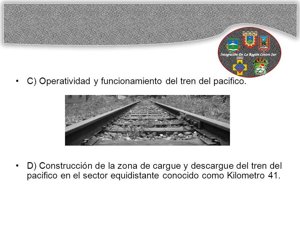 C) Operatividad y funcionamiento del tren del pacifico.