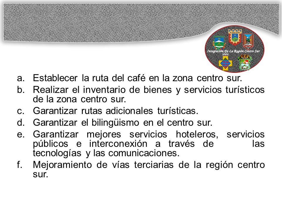 Establecer la ruta del café en la zona centro sur.