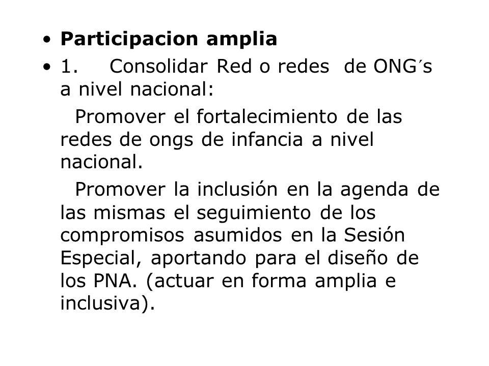 Participacion amplia 1. Consolidar Red o redes de ONG´s a nivel nacional: