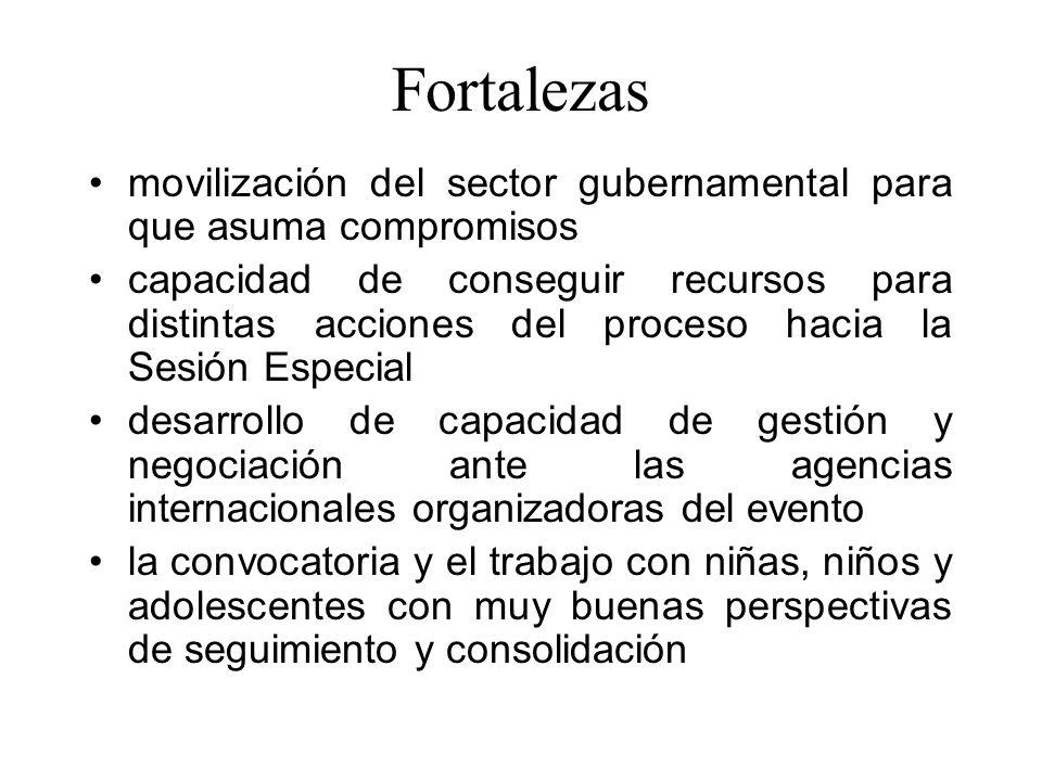 Fortalezas movilización del sector gubernamental para que asuma compromisos.