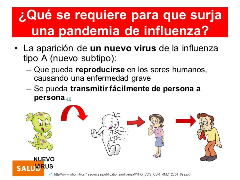 ¿Qué se requiere para que surja una pandemia de influenza