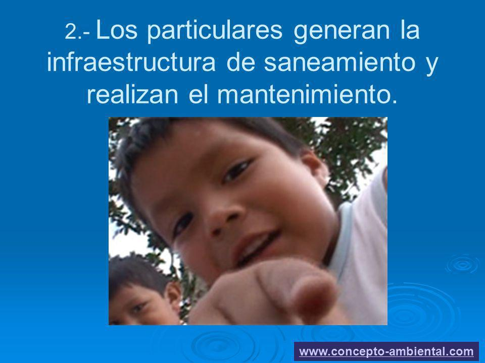 2222 2.- Los particulares generan la infraestructura de saneamiento y realizan el mantenimiento.
