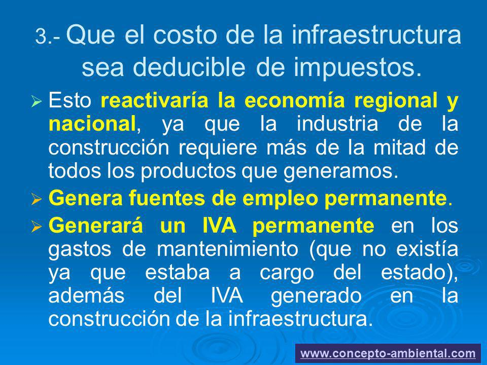 3.- Que el costo de la infraestructura sea deducible de impuestos.