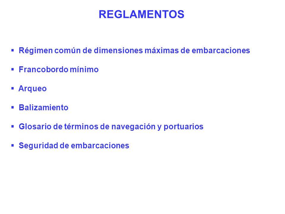 REGLAMENTOS Régimen común de dimensiones máximas de embarcaciones