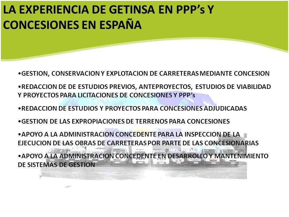 LA EXPERIENCIA DE GETINSA EN PPP's Y CONCESIONES EN ESPAÑA