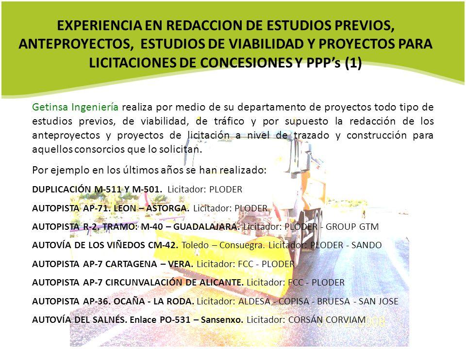 EXPERIENCIA EN REDACCION DE ESTUDIOS PREVIOS, ANTEPROYECTOS, ESTUDIOS DE VIABILIDAD Y PROYECTOS PARA LICITACIONES DE CONCESIONES Y PPP's (1)