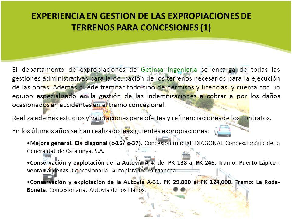 EXPERIENCIA EN GESTION DE LAS EXPROPIACIONES DE TERRENOS PARA CONCESIONES (1)