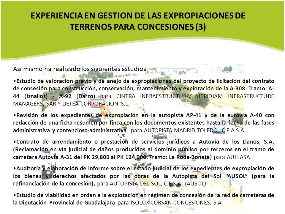 EXPERIENCIA EN GESTION DE LAS EXPROPIACIONES DE TERRENOS PARA CONCESIONES (3)