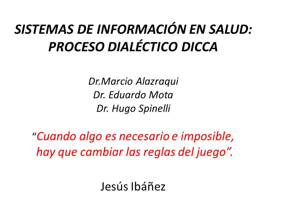 SISTEMAS DE INFORMACIÓN EN SALUD: PROCESO DIALÉCTICO DICCA Dr