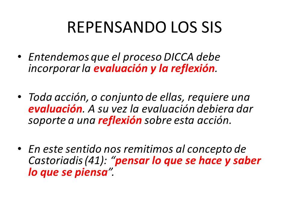 REPENSANDO LOS SIS Entendemos que el proceso DICCA debe incorporar la evaluación y la reflexión.