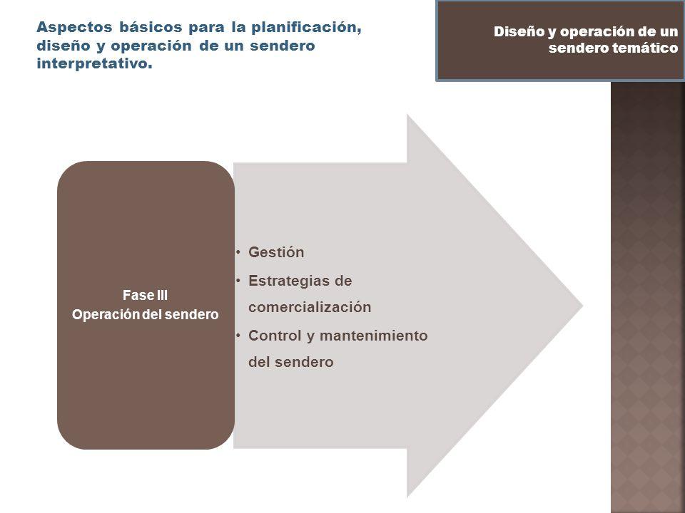 Estrategias de comercialización Control y mantenimiento del sendero