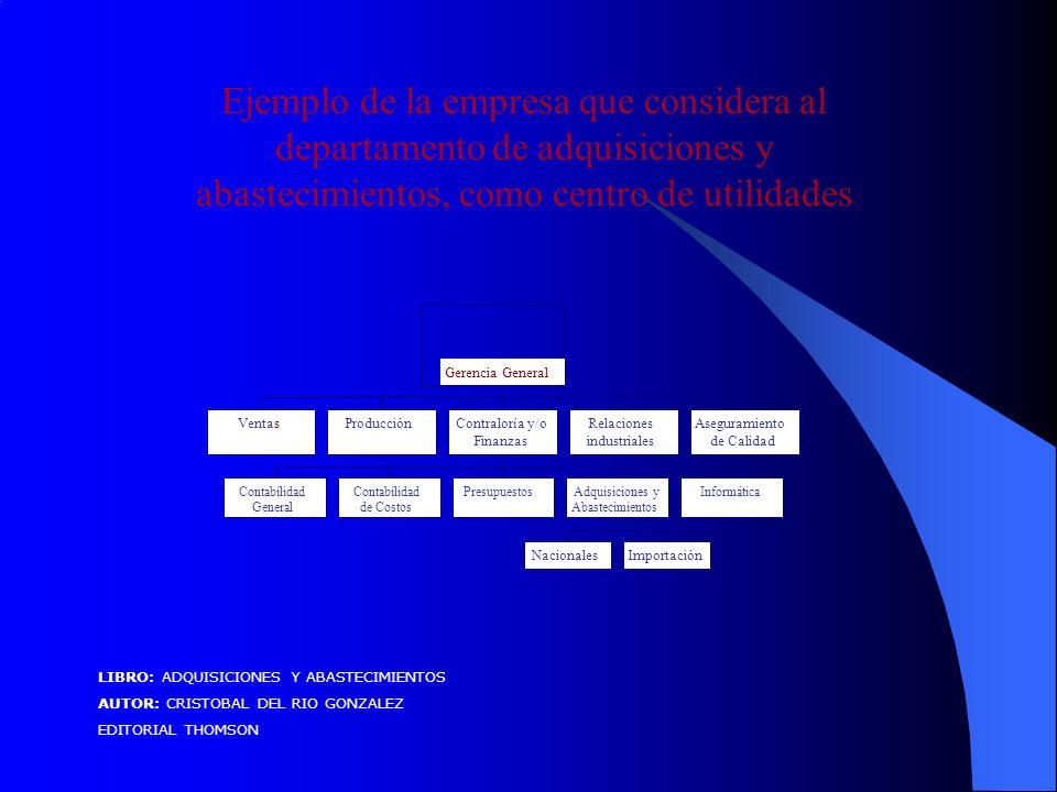 Ejemplo de la empresa que considera al departamento de adquisiciones y abastecimientos, como centro de utilidades