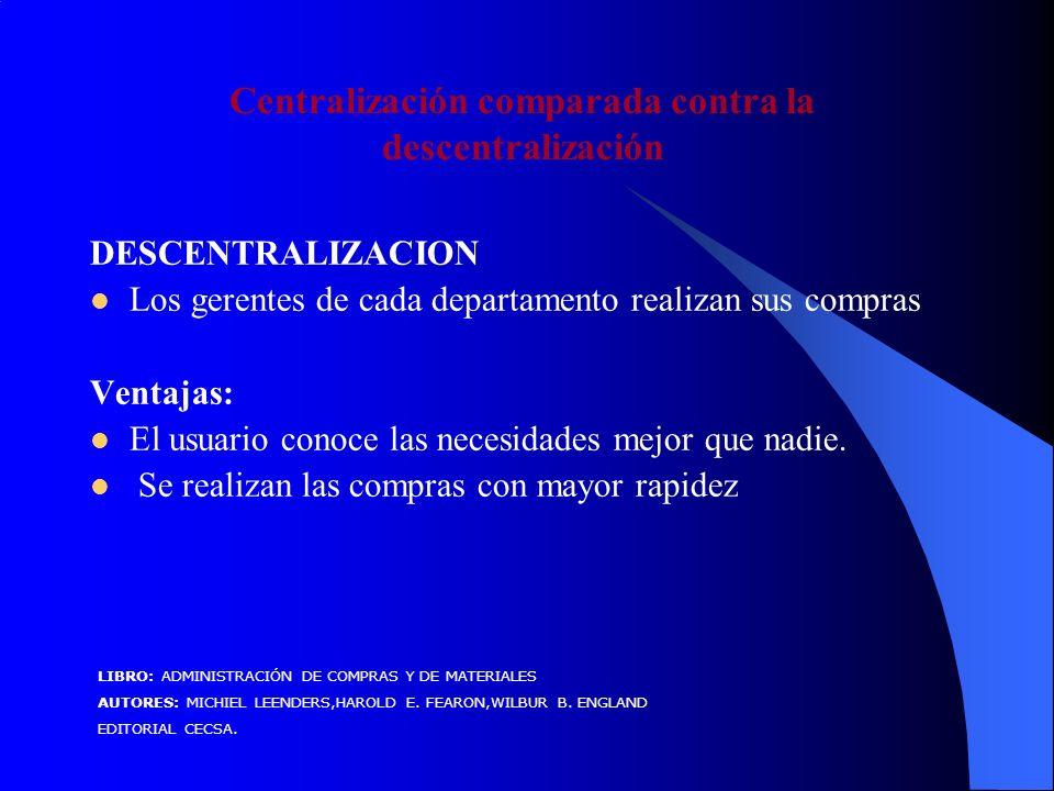 Centralización comparada contra la descentralización