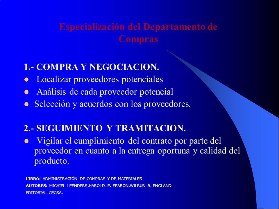 Especialización del Departamento de Compras