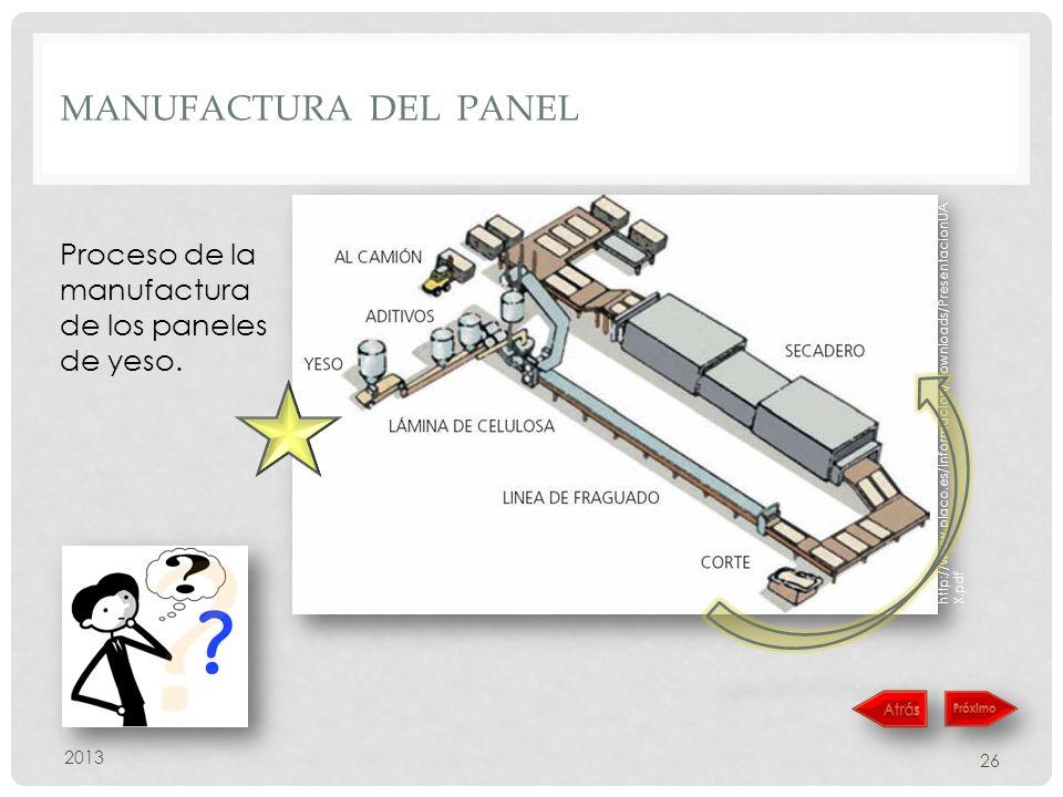 manufactura del panel Proceso de la manufactura de los paneles de yeso. http://www.placo.es/informacion/downloads/PresentacionUAX.pdf.