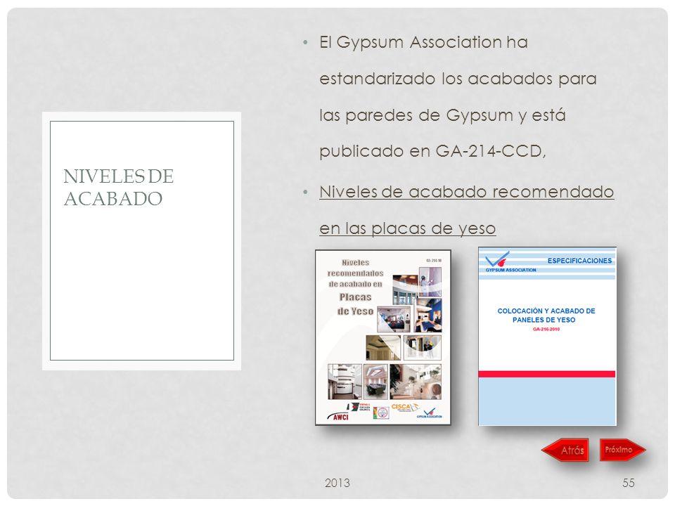 El Gypsum Association ha estandarizado los acabados para las paredes de Gypsum y está publicado en GA-214-CCD,
