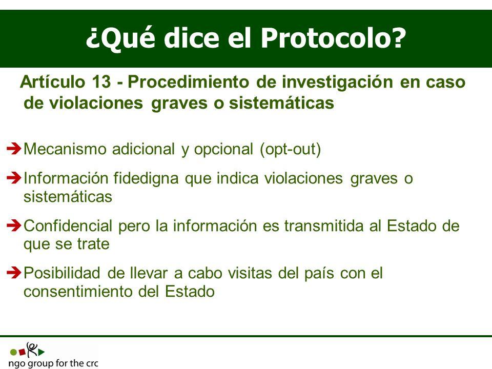 ¿Qué dice el Protocolo Artículo 13 - Procedimiento de investigación en caso de violaciones graves o sistemáticas.
