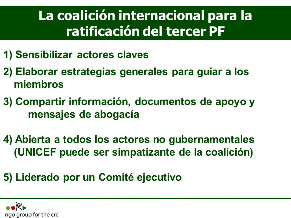 La coalición internacional para la ratificación del tercer PF