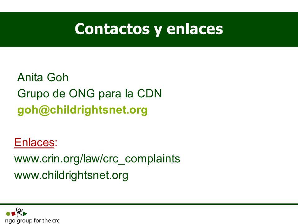 Contactos y enlaces Anita Goh Grupo de ONG para la CDN