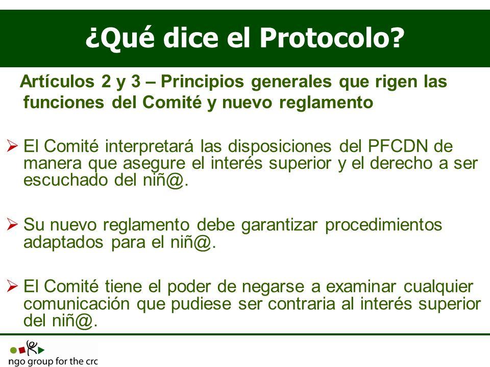¿Qué dice el Protocolo Artículos 2 y 3 – Principios generales que rigen las funciones del Comité y nuevo reglamento.