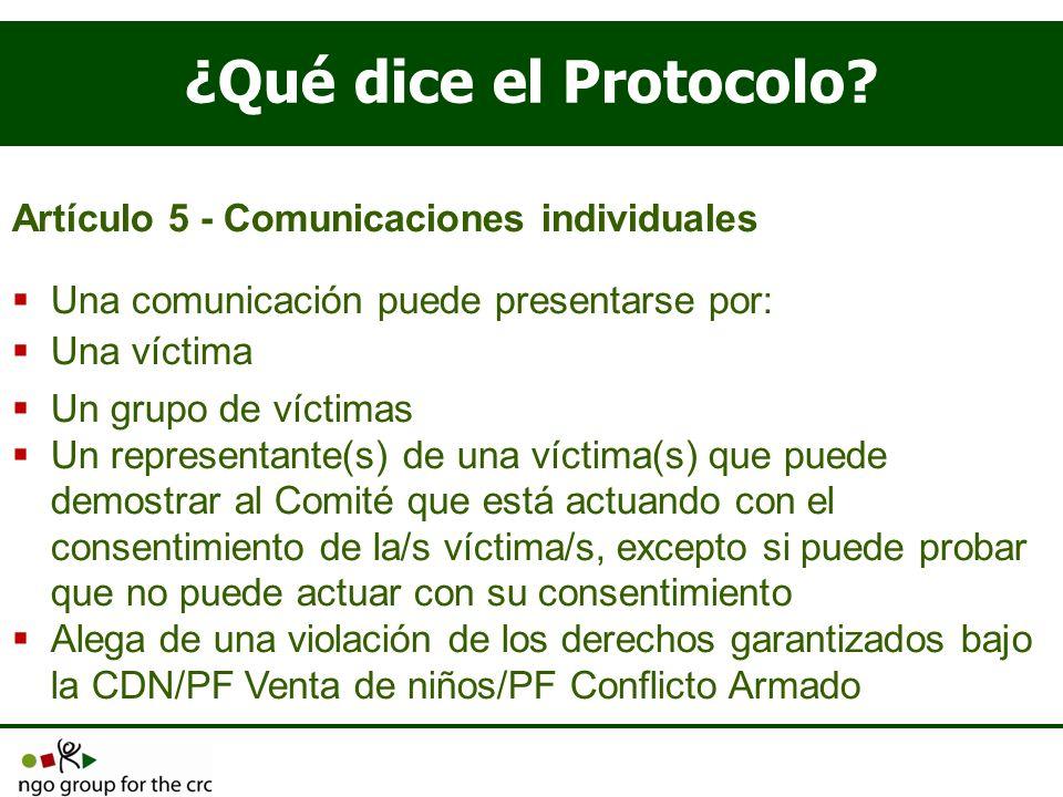 ¿Qué dice el Protocolo Artículo 5 - Comunicaciones individuales