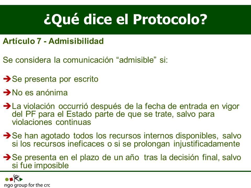 ¿Qué dice el Protocolo Artículo 7 - Admisibilidad