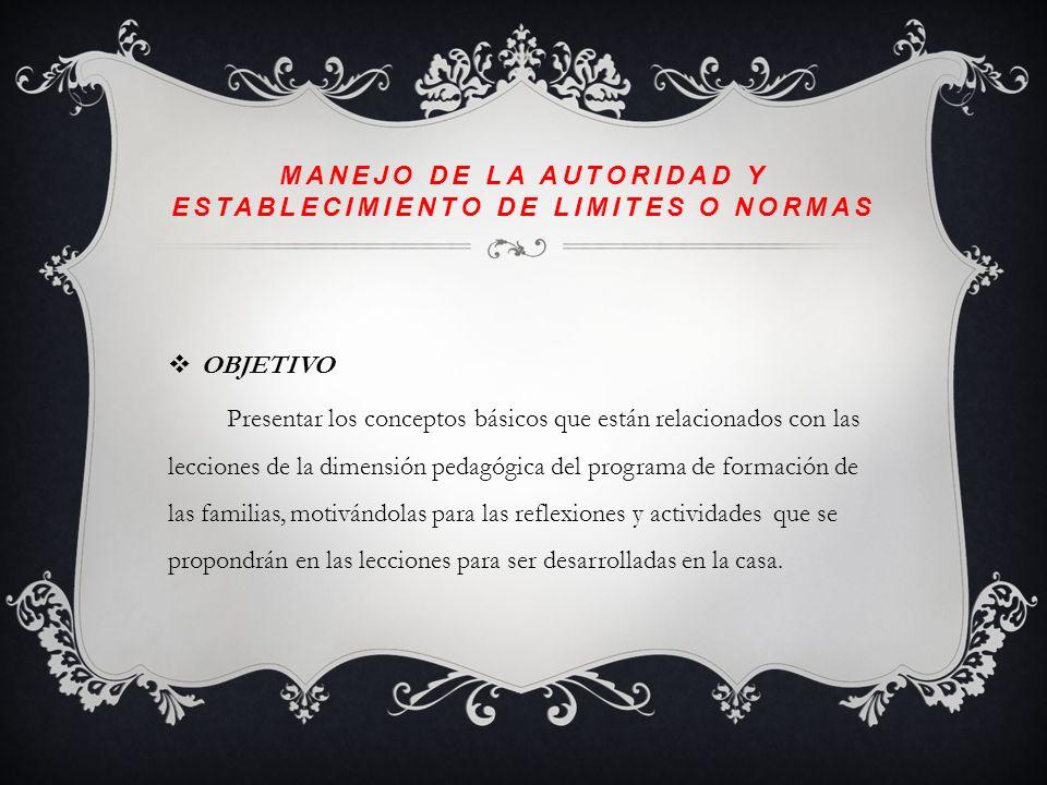 Manejo de la autoridad y establecimiento de limites o normas