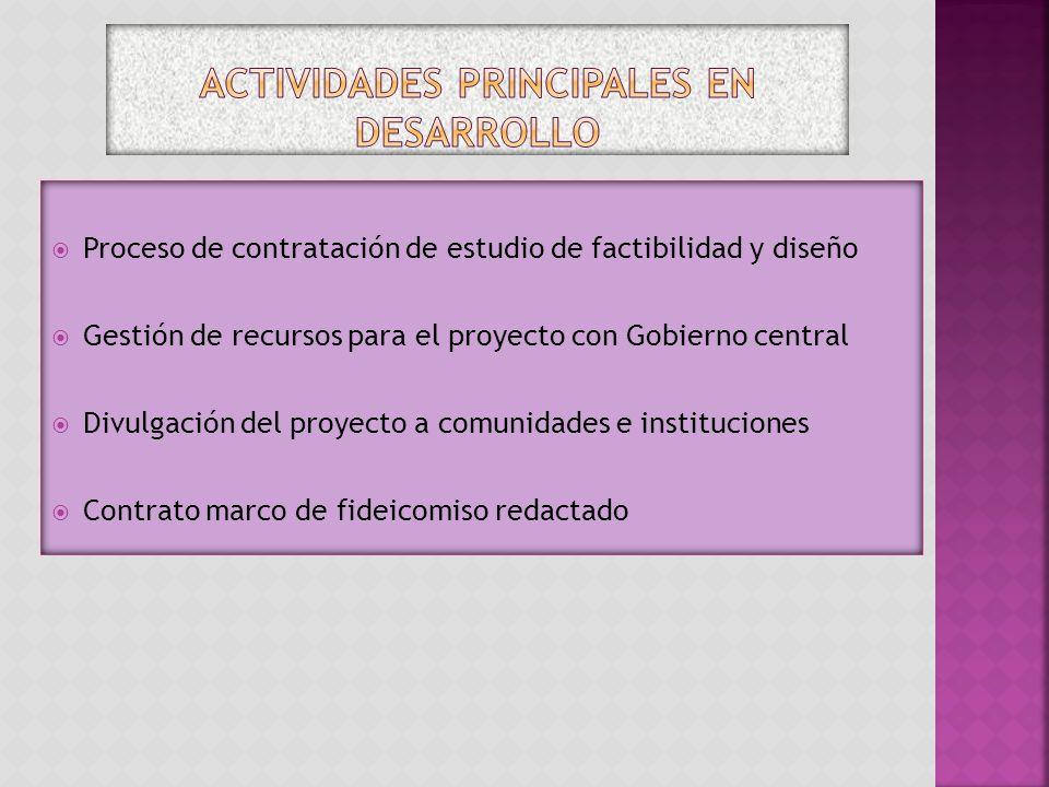 Actividades principales en desarrollo