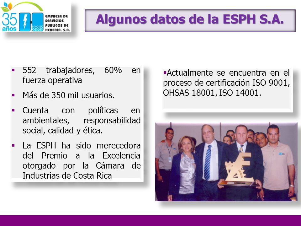 Algunos datos de la ESPH S.A.