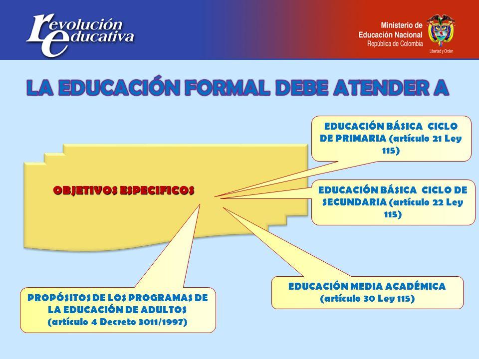 LA EDUCACIÓN FORMAL DEBE ATENDER A