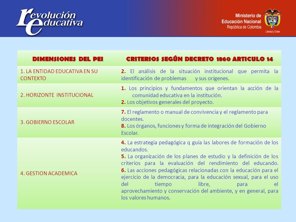 CRITERIOS SEGÚN DECRETO 1860 ARTICULO 14