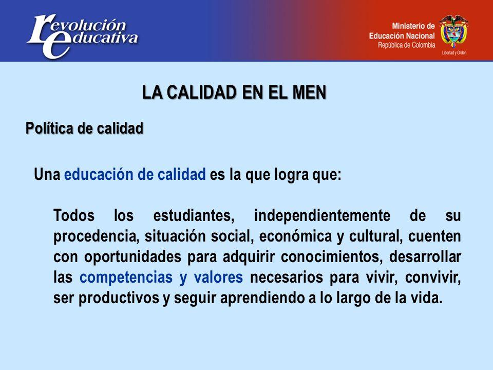 LA CALIDAD EN EL MEN Una educación de calidad es la que logra que: