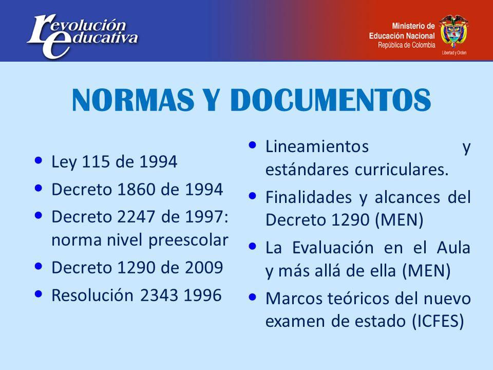 NORMAS Y DOCUMENTOS Lineamientos y estándares curriculares.
