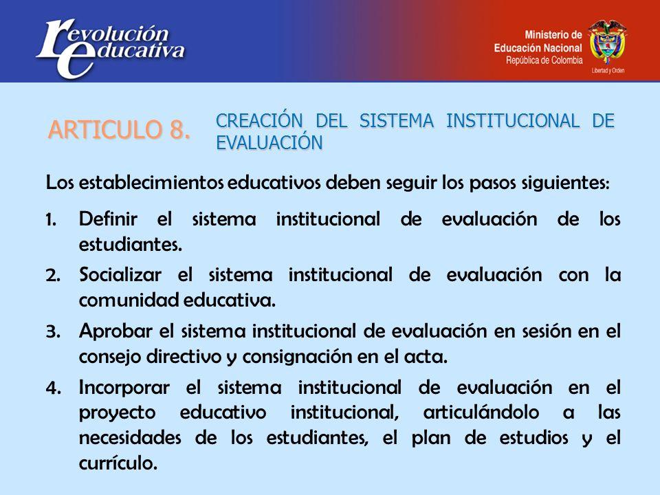 CREACIÓN DEL SISTEMA INSTITUCIONAL DE EVALUACIÓN